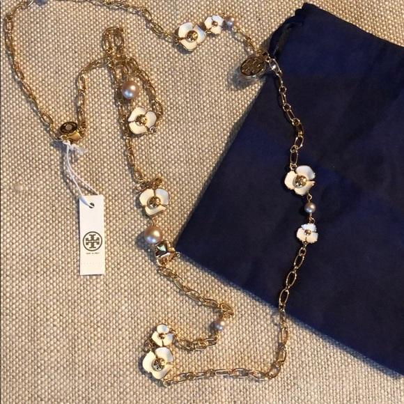 8dd0c29c746b Tory Burch Fleur Rosary Long Necklace